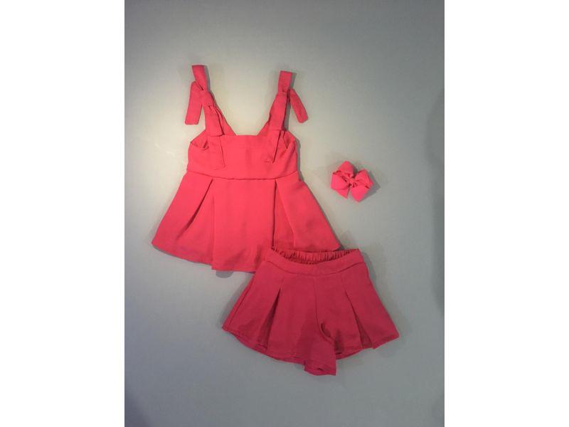Conjunto Com Laço Nos Ombros - Pink