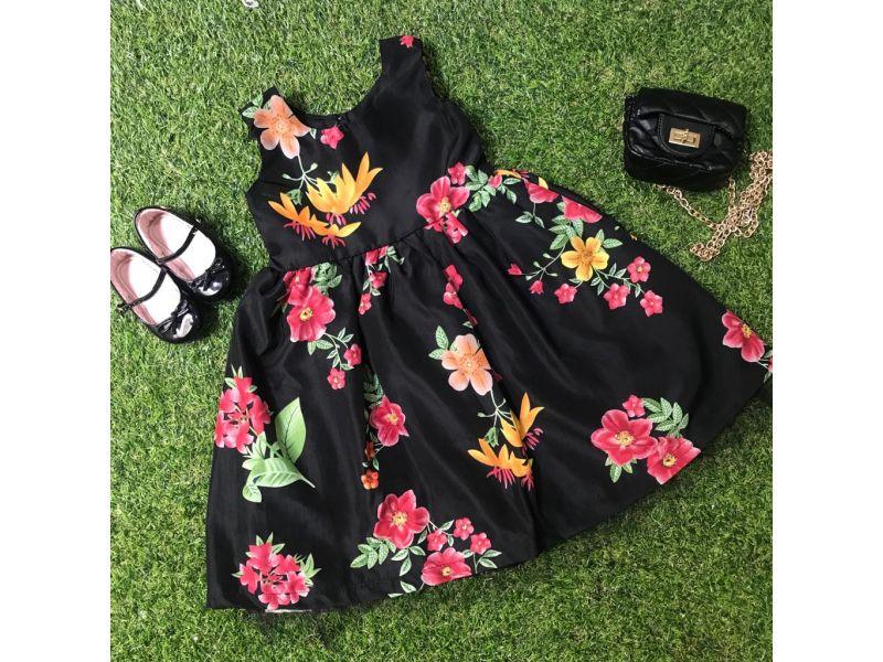 Vestido Floral com Laço nas Costas - Preto