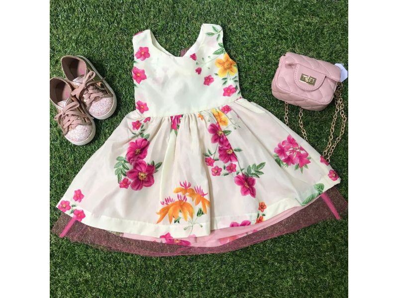 Vestido Floral com Laço nas Costas - Creme