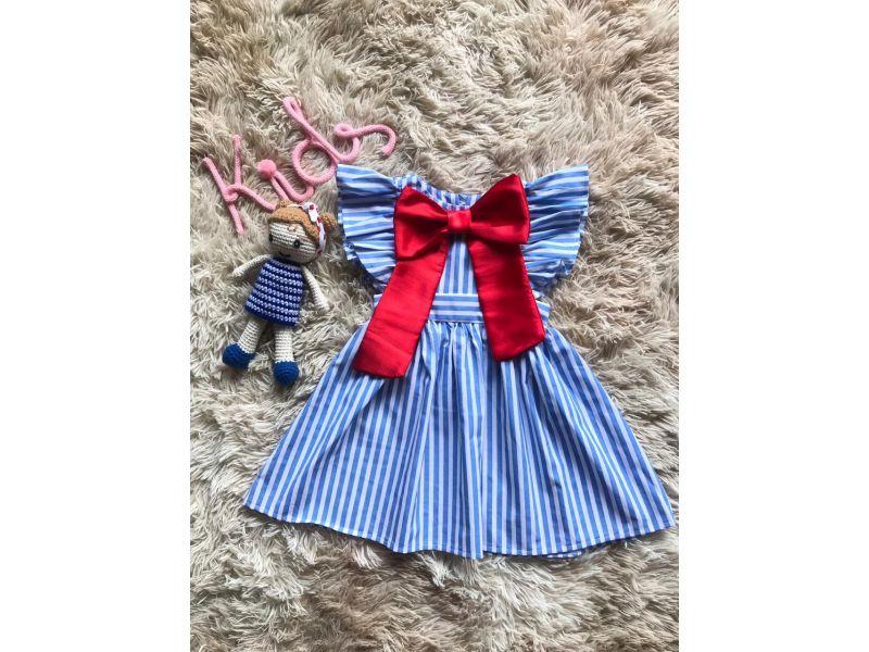 Vestido com Laço - Azul