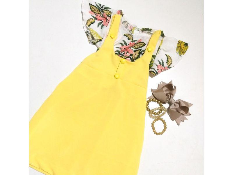 Salope com Blusa Estampada - Amarelo