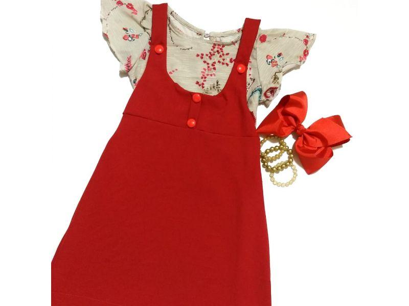 Salope com Blusa Estampada - Vermelho
