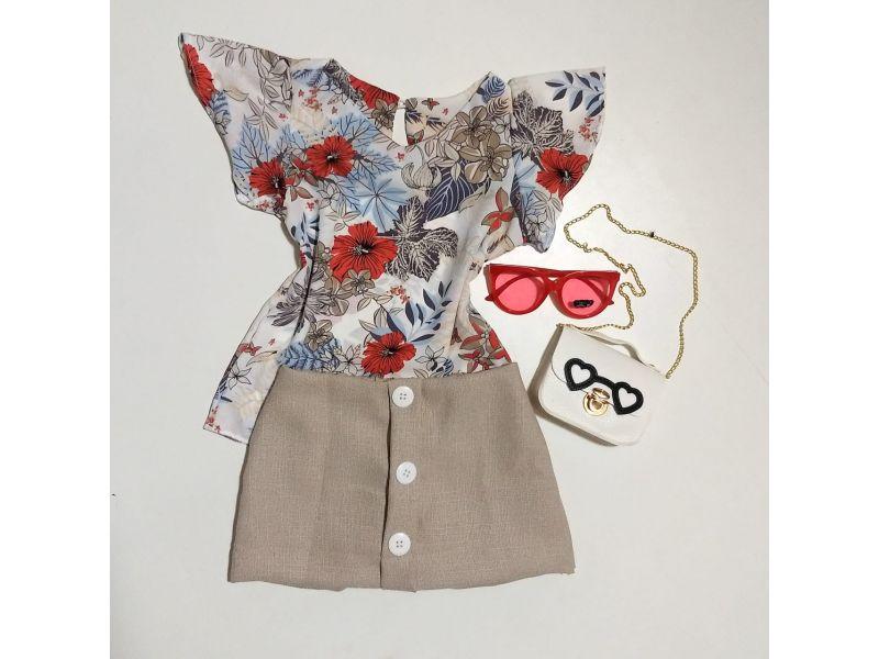 Conjunto Floral co Shorts Saia - Bege