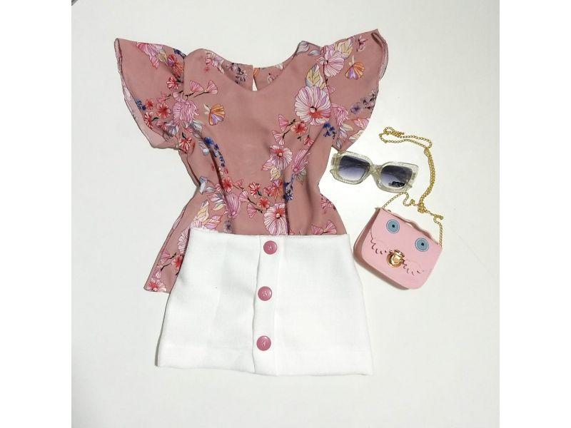 Conjunto Floral com Shorts Saia - Rosa