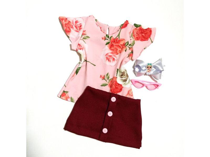 Conjunto Floral co Shorts Saia - Bordô